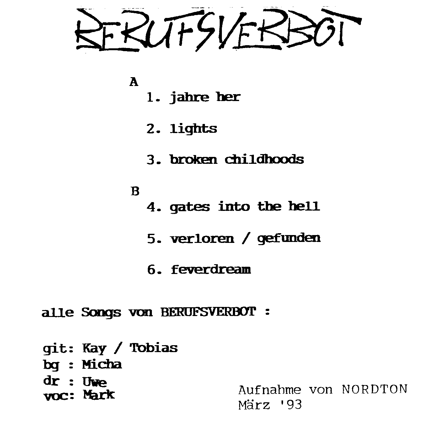 Berufsverbot - Berufsverbot (1993)