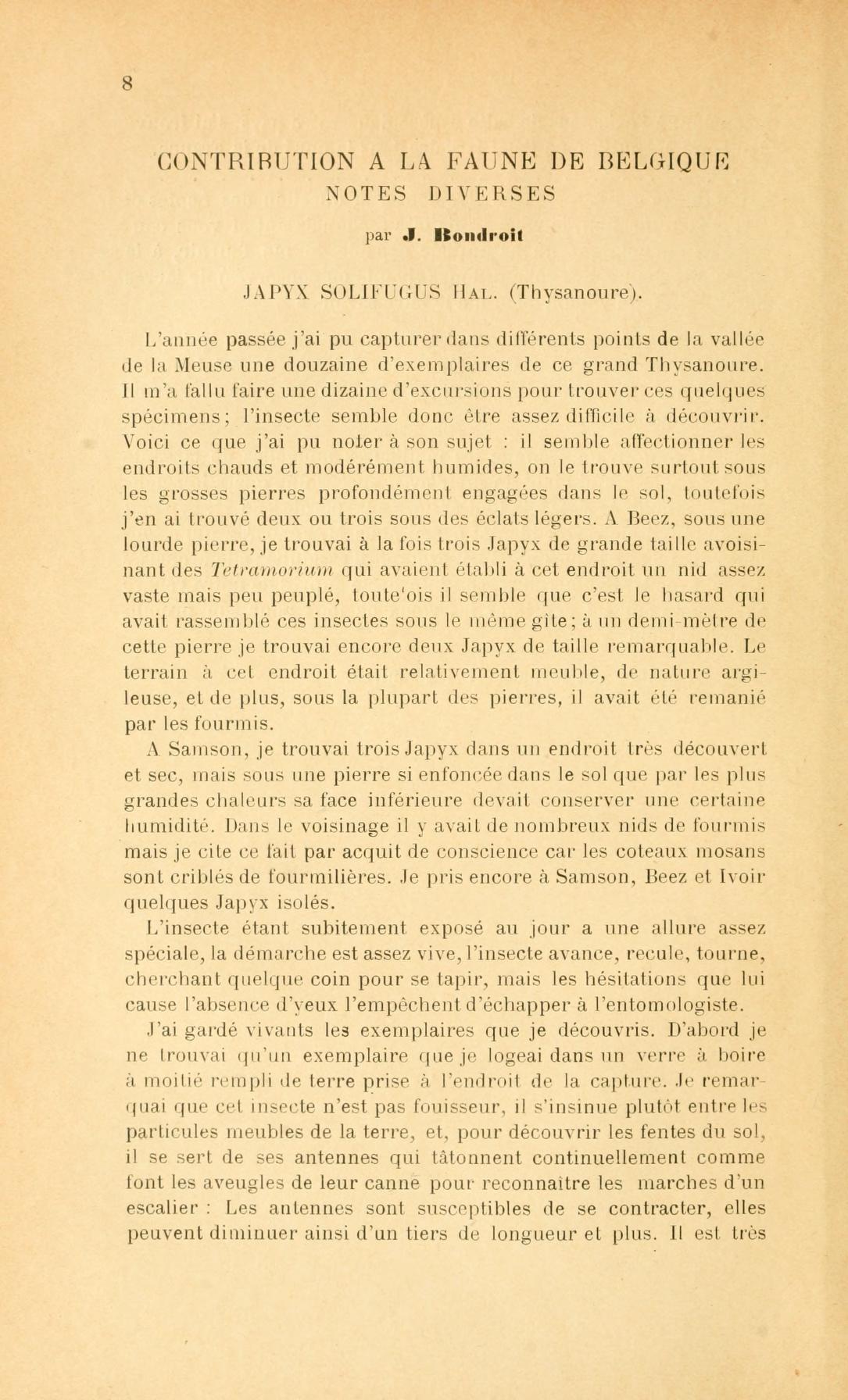 Contribution à la faune de Belgique. Notes diverses