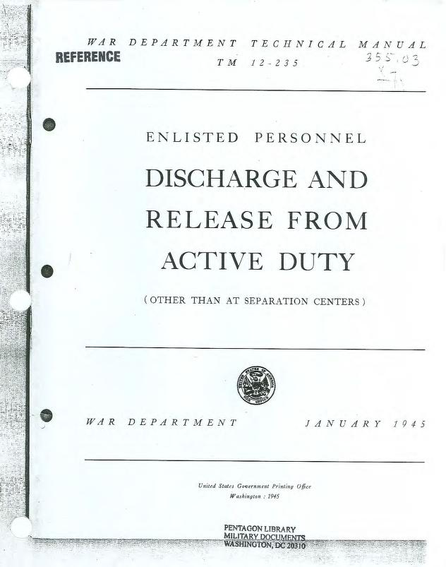 United States. War Department - TM 12-235 Discharge and Release from Active Duty (Other than at Separation Centers)