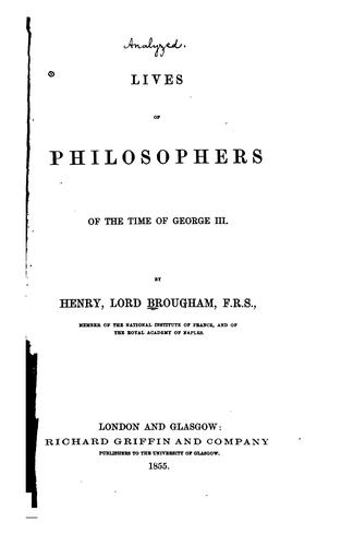 Download Lives of philosophers of the time of George III.