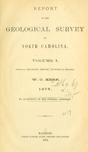 Report of the geological survey of North Carolina.