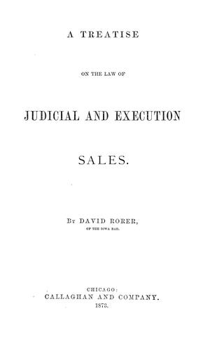 Download A treatise on the law of judicial and execution sales
