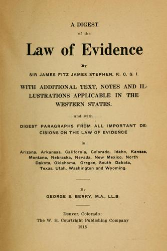 Download A digest of the law of evidence