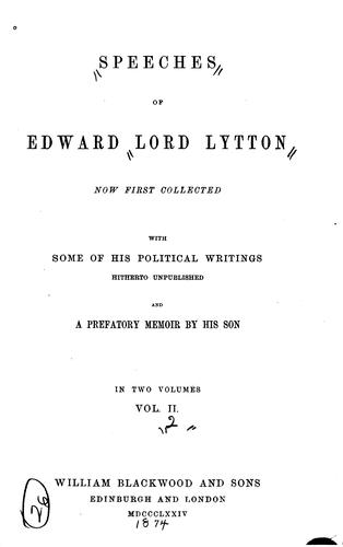 Download Speeches of Edward, lord Lytton