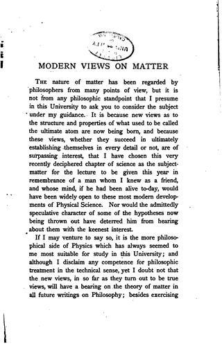 Download Modern views on matter.