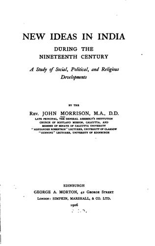 Download New ideas in India during the nineteenth century