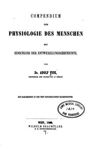 Compendium der Physiologie des Menschen …