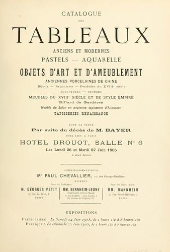 Tableaux anciens et modernes.