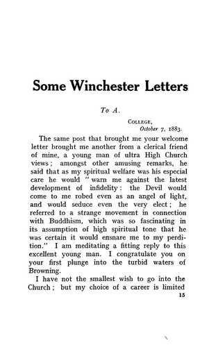 Some Winchester letters of Lionel Johnson.