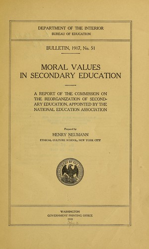 … Moral values in secondary education