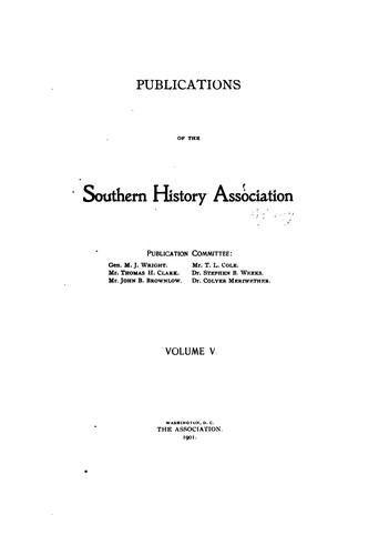 Publications of the Southern History Association by Southern History Association