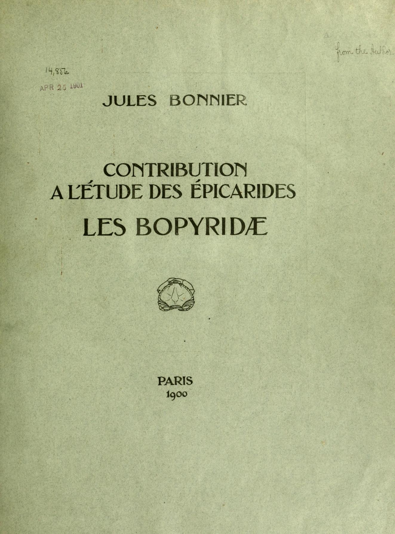 Contribution a L'étude des Épicarides - Les Bopyridae