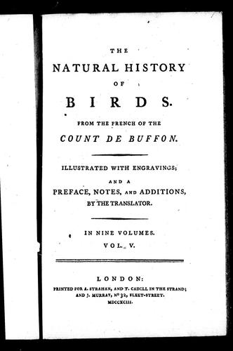 The natural history of birds by Georges-Louis Leclerc, comte de Buffon