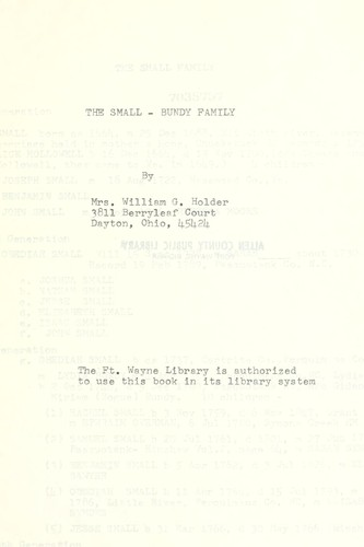 The Small-Bundy family by Holder, William G. Mrs.